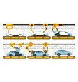automobile assembly factory car assembly conveyor vector image