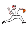 Baseball Pitcher Player Throwing vector image vector image