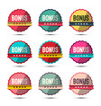 bonus labels set retro stickers isolated on white vector image vector image
