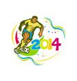 Brazil 2014 Football Player Running Ball Retro vector image vector image