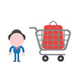 businessman with shopping bag inside shopping cart vector image