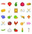 butchery icons set cartoon style vector image vector image
