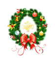 christmas wreath with toys vector image