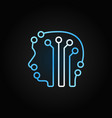 circuit board human head with brain blue vector image vector image