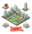 city creation isometric set vector image