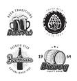 creative beer set logos design with mug bottle vector image vector image