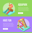 family vacation in aquapark isometric flyers set vector image vector image