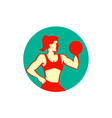 Female Lifting Dumbbell Circle Retro vector image vector image