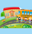 four students at school ground vector image vector image