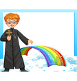Frame design with priest and rainbow vector image vector image