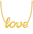 gold chain necklace with love word pendant vector image vector image