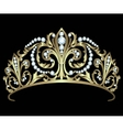 Gold diadem with diamonds vector image vector image