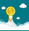 gold dollar coin flies like a rocket in sky vector image vector image