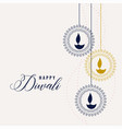 happy diwali decorative lamps background vector image