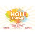 holi spring festival colors invitation vector image