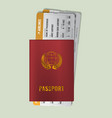 international passport with boarding passes two vector image