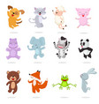 kids animals cartoon animalistic characters vector image