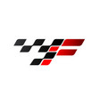 letter f with racing flag logo vector image vector image