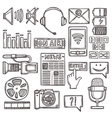 Media sketch icons set vector image vector image