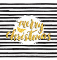 merry chistmas lettering gold glitter tree hand vector image