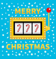 merry christmas candy cane slot machine golden vector image