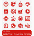 national pumkin pie day icon set vector image