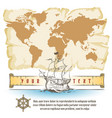 old map and sail retro ship with scroll vector image vector image