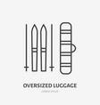 oversized luggage set flat line icon ski package vector image