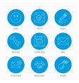Photo camera pencil and handshake icons vector image vector image
