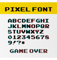 Pixel font with 39 symbols and text game over vector image