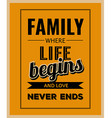 Retro motivational quote Family where life begins vector image vector image