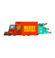 santa post car carry christmas tree and gifts vector image vector image