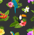 seamless pattern with exotic flowers and birds vector image vector image