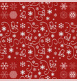 seamless pattern with snowflakes on red vector image