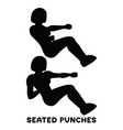 seated punches sport exersice silhouettes of vector image vector image