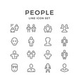 set line icons people vector image vector image
