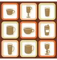 Set of 9 icons of coffee cups vector image vector image