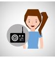 smiling girl music radio traditional vector image vector image