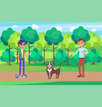 students in park walking dog on leash pet vector image vector image