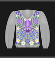 sweatshirt template with irises vector image vector image