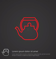 teapot outline symbol red on dark background logo vector image vector image