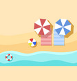 top view of beach summer background with umbrella vector image