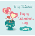 Two lollipop hearts in a vase with an inscription vector image vector image