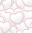 Valentine seamless background of white and red hea vector image vector image