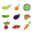 Vegetables icons set in cartoon style