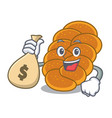 with money bag challah character cartoon style vector image vector image