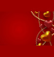 3d metallic gold and red hearts with beads and vector image vector image