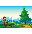 A woodman chopping woods at the hilltop near the vector image vector image