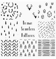 abstract hand drawn black seamless patterns vector image