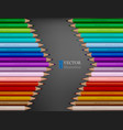 arrow shape of rainbow colored pencils on dark vector image vector image